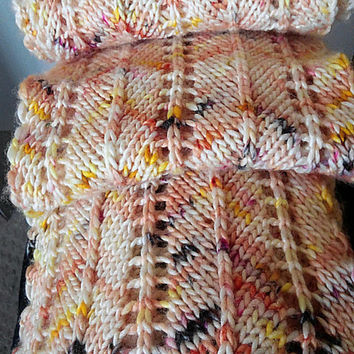 Knit Scarf, Chevron, Lace, Openwork, Cream, Orange, Peach, Purple, Yellow