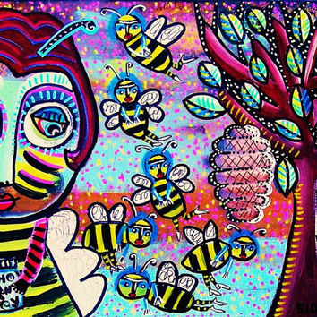 Hiding The Honey  SILBERZWEIG ORIGINAL Art by SandraSilberzweigArt