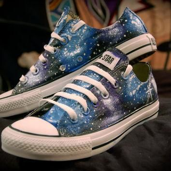 blue and purple galaxy shoes converse