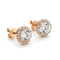 CZ Round Halo Stud Earrings Rose Gold Vermeil over Sterling Silver - Allobar