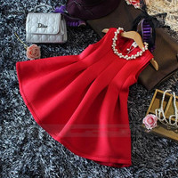 2015 Fall Winter New Girls Red Vest Princess Tutu Dress Children's Dresses Girls clothes.