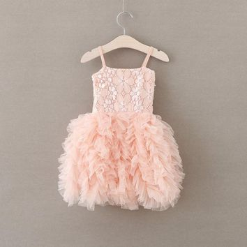 Flamingo Pink Floral Lace Applique Dress