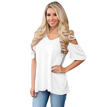 White Cold Shoulder Crisscross Detail Relaxing Fit Top