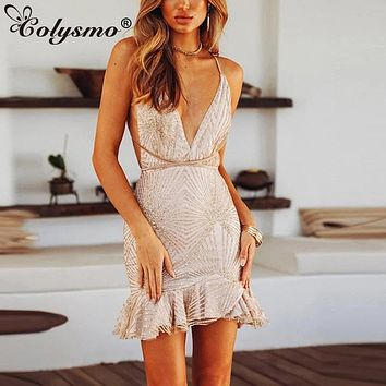 Colysmo Gold Sequin Dress Halter Backless Women Party Dress Mini Mermaid Sexy Summer Dress Bodycon Club Dresses Ruffles Vestido