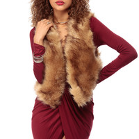 Brown Luxe Faux Fur Vest
