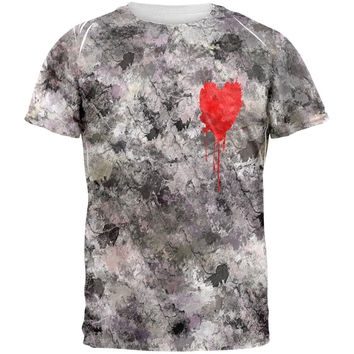 Valentines Single Painted Heart All Over Adult T-Shirt