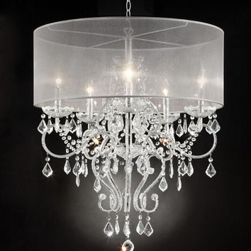 Silver chrome finish metal and glass crystal hanging chandeliar ceiling lamp with collapsible sheer shade