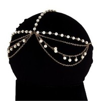 Goldtone Head Chain with Faux Pearls Head Chain Hair Band (Style IHC1024-GIV UR)