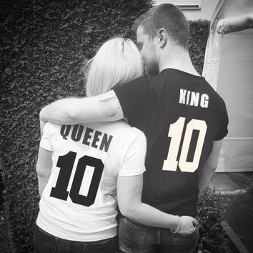 King Queen 10 Print T Shirt Women 2018 Summer Style Lovers Tshirt Short Sleeve Cotton Letter T-shirt Women Brand Couple Outfits