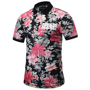 3D Printed Flowers Polo Shirt