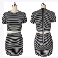 Stripe Stretch Dress Splice Pencil Dress