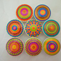 Set of 8 Starburst Mandala Oversized Cabinet Knobs