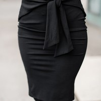Business Trip Tie Front Skirt (Black)