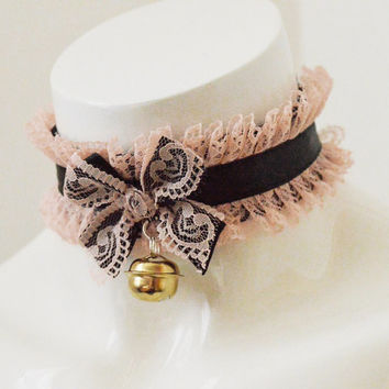 Kitten play collar - Altpink - ddlg little princess cute kawaii pastel pink and black choker - with golden bell