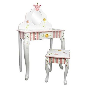 Fantasy Fields - Princess & Frog Thematic Kids Vanity Table and Stool Set with Mirror | Imagination Inspiring Hand Crafted & Hand Painted Details Non-Toxic, Lead Free Water-based Paint