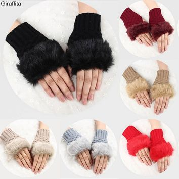 Winter Cute Warm Plush Thick Knitted Warm Gloves Female Plush Fingerless Knitted Wrist Gloves Women Faux Fur Warm Gloves