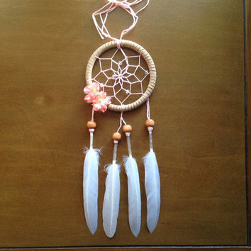 "3"" Floral Pink and Cream Dream Catcher"