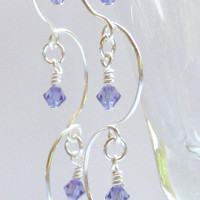 Chandelier Earrings, Tanzanite Beaded Earrings, Purple & Silver Earrings, Prom 2015, Bridal Jewelry, Bridesmaid Gift, Birthstone Jewelry