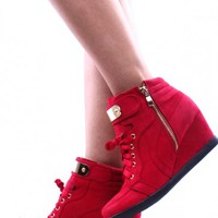 RED GOLD METAL DESIGN LACE UP ZIPPER CLOSURE WEDGE SNEAKER BOOTIES