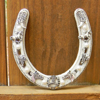 Iron Horseshoe, Decorative Horseshoe, Beaded Horseshoe, Cast Iron Horseshoe, Jeweled Horseshoe, Cowgirl Decor, Rodeo, Outlaw Glam