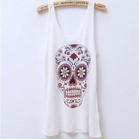 Skeleton Print Sleeveless T-Shirt