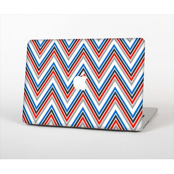 """The Red-White-Blue Sharp Chevron Pattern Skin Set for the Apple MacBook Pro 15"""" with Retina Display"""