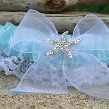Beach Wedding Bridal Garter-Tiffany Aqua Blue-Nautical Wedding, Starfish Garter, Destination Weddings, Something Blue, Bridal Accessories