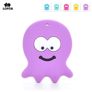 Silicone Octopus Teether 2pcs/lot Baby Teething BPA Free Safe and Natural Silicone Animals Teether Toys Teether Necklace Pendant
