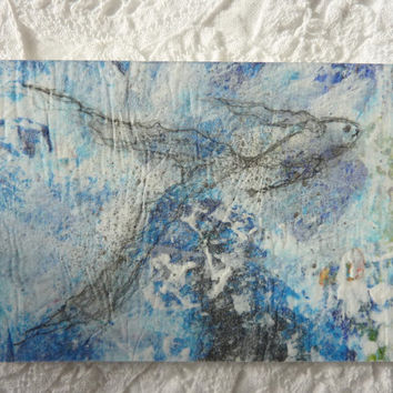 Fish swimming in blue water. An abstract collage artist card an original mixed media painting.
