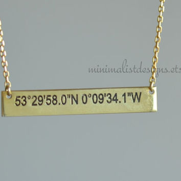 Solid 14k gold, initial bar necklace,latitude longitude,nameplate necklace personalized bar,coordinates necklace,mothers day,christmas gift