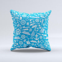 Blue Nautical Collage Ink-Fuzed Decorative Throw Pillow