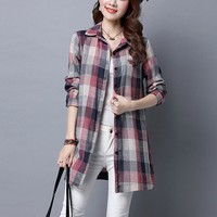 Plus size M-3XL women blouses 2016 autumn long sleeve plaid shirt casual vintage blusas mujer tops