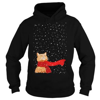 Cat under snow ugly christmas sweater Hoodie