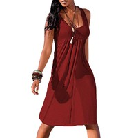 New Women Ruffle Summer Sleeveless Casual Party Beach Dress Short Casual Dress