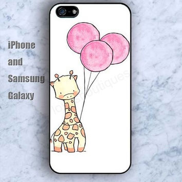 cartoon Giraffe balloon colorful iPhone 5/5S Ipod touch Silicone Rubber Case Phone cover Waterproof