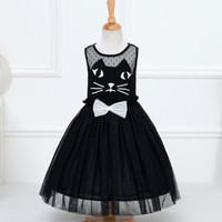 Cute Lace Bow Ball Gown Party Dresses Cartoon Cat Girl Sleeveless Dresses Tulle Girl Dress NW