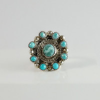 Navajo Ring - Silver and Turquoise Ring - Size 5.75 Ring - Round Turquoise Ring - Circle Ring - Vintage Native American Ring