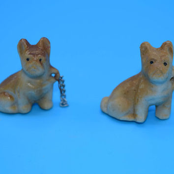 Miniature Brown Bulldog Puppies Vintage Pair Boxer Puppies Mid Century Dogs on Chains Figurines Dog Lover Gift Replacement Figurines