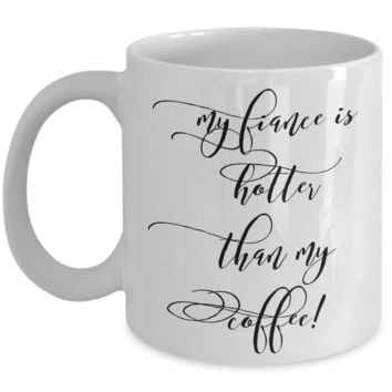 """Valentines Day Anniversary Birthday Gifts For Men & Women - Valentines Day Gifts - Mugs With Funny Sayings - Valentines Day Gifts For Him From Her - Coffee Mugs With Funny Sayings- Dish Whasher Safe White Ceramic 11"""" Hotter Than My Coffee Couple Jar Cup"""