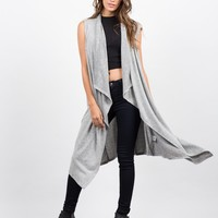 Sleeveless Drapey Open Cardigan