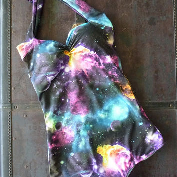 Galaxy cosmic print Retro Pin Up One piece Swimsuit sizes xs- xl Made to Order