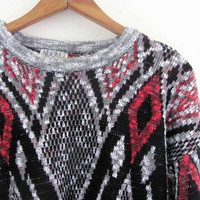 80s sweater. graphic sweater. bill cosby sweater. gray and black. men's size L