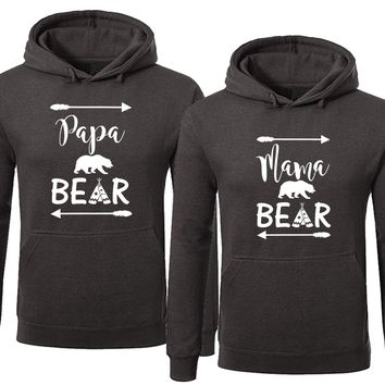 Bear Family Hoodie for Mama Bear & PAPA Bear Pullover Sweater- Charcoal -Price for 1