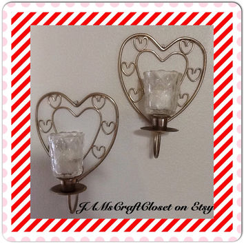 Candle Holder Sconces Vintage Gold Wire Heart Shaped Votive Tea Light Wall Art Wall Hanging Home Decor Victorian Decor Cottage Chic Decor