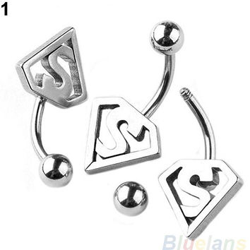 Stainless Steel Bat Ball Belly Navel Ring Button Barbell Body Piercing Jewelry