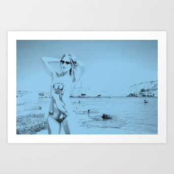 Pop Hot No. 23, sexy blue beach swimsuit pin-up girl Art Print by OCcreates