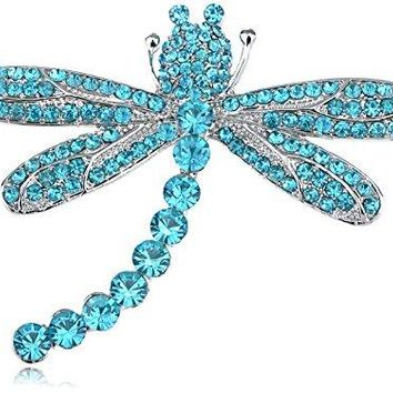 Silvery Tone Light Aqua Synthetic Sapphire Blue Rhinestone Gem Dragonfly Jewelry Pin Brooch