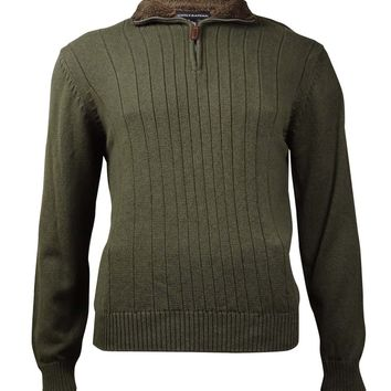 Tricots St Raphael Men's Variegated Rib Quarter-Zip Sweater (Olive Marl, L)