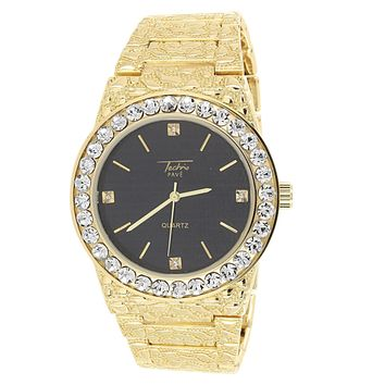 Men's Solitaire Bezel Gold Tone Nugget Link Band Watch