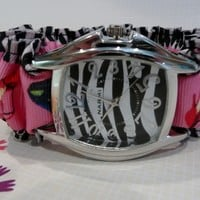 RIBGAT04 Zebra Pink, Black and White Ribbon Watch
